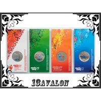 4 цветные монеты набор Сочи 2011 Горы 2012 Талисманы 2013 Лучик и Снежинка 2014 Факел блистер UNC олимпиада Россия