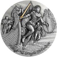 """Ниуэ 5 долларов 2021г. """"Дочь викинга Эрика Рыжего: Фрейдис Эриксдоттир"""". Монета в капсуле; деревянном подарочном футляре; номерной сертификат; коробка. СЕРЕБРО 62,20гр.(2 oz)."""