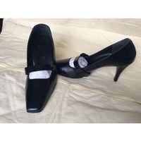 Туфли женские, модельные, кожаные, черные, Австрия, каб 7см