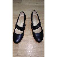 Туфли девичьи школьные, кожаные, р-р 37, Сивельга