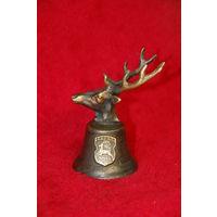 Колокольчик с гербами Гродно и головой оленя, латунь