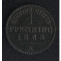 Германия Пруссия 1 пфенниг 1863 г. (*). Состояние на фото!!!