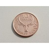 """Мадагаскар. 10 франков 1996 год КМ#22  """"Единственный год чекана"""""""