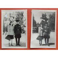 2 фото военного с наградами и женщиной. Киев. 1949 г. Цена за оба