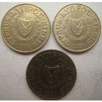 Кипр 2 цента 1994, 1996, 1998 гг. Цена за 1 шт. (g)