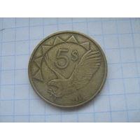 Намибия 5 долларов 1993г.km5