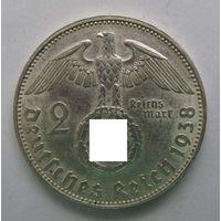1938 г. 2 марки. E. Германия. Рейх. Серебро. XF