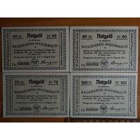 Нотгельды 40,60,75,100 Pf 1921г. Нойграбен-Хаусбрух - (4шт)
