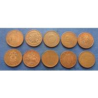 Лот из 2 евроцентов (Испания, Германия, Бельгия, Франция, Австрия, Латвия, Литва, Италия, Ирландия, Эстония). Всего 10 монет