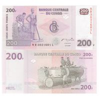 Конго 200 франков образца 2007 года UNC p99a