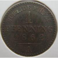 Пруссия 1 пфенниг 1862 г. В холдере (g)