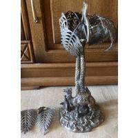 Старинная Статуэтка, Скульптура Пальма, Верблюд, Бедуин Бронза