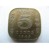 Цейлон 5 центов 1943 г.