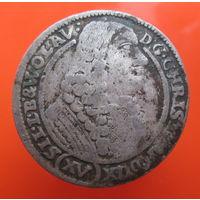 15 крейцеров, Силезия. 1673 год. Из старой коллекции (#03)
