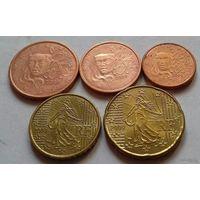 Набор евро монет Франция 2009 г. (1, 2, 5, 10, 20 евроцентов)