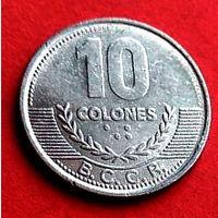 04-17 Коста-Рика, 10 колонов 2008 г. Единственное предложение монеты данного года на АУ