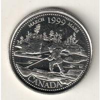 Канада 25 цент 1999 Март