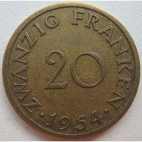 Саар 20 франков 1954 г.