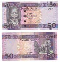 Банкнота Южный Судан 50 фунтов 2017 UNC ПРЕСС слоны