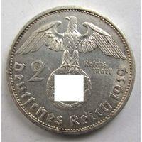 1939 г. 2 марки. A. Германия. Рейх. Серебро. XF. #1