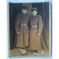 Фото. Двое военных в шинелях. 1946 г. 12х15.5 см