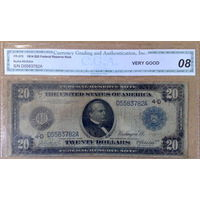 20$ 1914г KL#622 Fr#976  -сертификат-