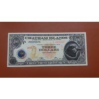 Банкнота 3 доллара Чатем 2001
