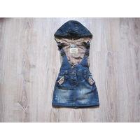 Джинсовый сарафан Next с капюшоном, для девочки 1-2 года