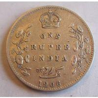 Британская Индия 1 рупия 1906, серебро