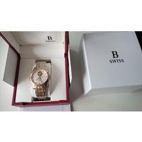 Швейцарские механические часы Bucherer, позолоченный механизм и корпус, золотые стрелки, сапфир, новые, автоподзавод, гарантия.