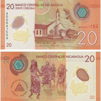 Никарагуа 20 кордоб 2014 год  (полимер)  UNC