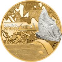 """Острова Кука 5 долларов 2015г. """"Оттенки природы: Бабочка"""". Монета в капсуле; подарочном футляре; сертификат; коробка. СЕРЕБРО 25гр."""
