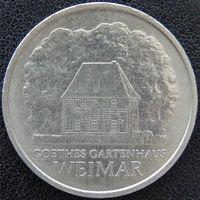 YS: ГДР, 5 марок 1982, города Германии - Веймар, дом Гете в саду, KM# 85