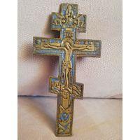 Крест. Распятие старинное с эмалью и молитвой на обороте.