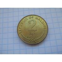 Мальдивы 2 руфии 2007г.km88(магнит)