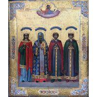 """Икона Мстёра """"Избранные Святые с Варварой Великомученицей,Дмитрием,Борисом и Глебом; конец 19ого в."""