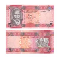 Банкнота Южный Судан 5 фунтов 2015 UNC ПРЕСС