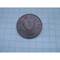 Уганда 5 центов 1966г.km1