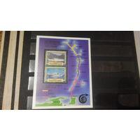 Транспорт, парусники, корабли, флот, рыбы, карты, марки, Британские Виргинские острова, 1986, блок