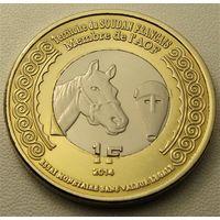"""Французский Судан. """"Мали"""" 1 франк 2014 год UC#202 """"100 лет Начала 1-й Мировой войны"""""""