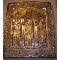 Икона Избранные святые XIX век Оклад латунь С31