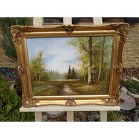 345 Красивая Картина лесной Пейзаж Масло Холст 40х30см - Рама Дерево 50х40