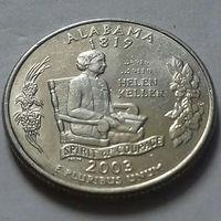 25 центов, квотер США, штат Алабама, D
