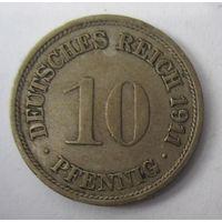 Германия. 10 пфеннигов 1911 F . 1-64