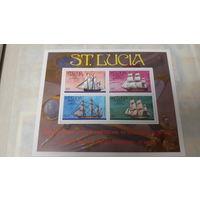 Парусники, корабли, флот, транспорт, моренистика - марки, блок, Сент-Люсия 1976