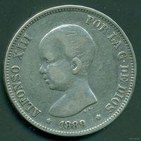 Испания. Альфонсо XIII. 5 Песет 1889.