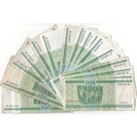 Набор 16 купюр: 100 рублей 2000 года, Беларусь, серии аЕ бЕ вЛ вЧ вЭ вЯ кА мА нС нТ сГ сЕ сК тХ эП яП