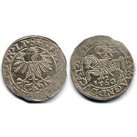 Полугрош 1560, Жигимонт Август, Вильно. Окончания легенд: Ав - LI, Рв - LITVA. Непрочекан, штемпельный блеск