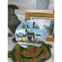 Винтажная декоративная Коллекционная тарелка Фарфор Роспись Клеймо Охота