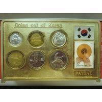 Сувенирная плакета с монетами и маркой Республики Корея